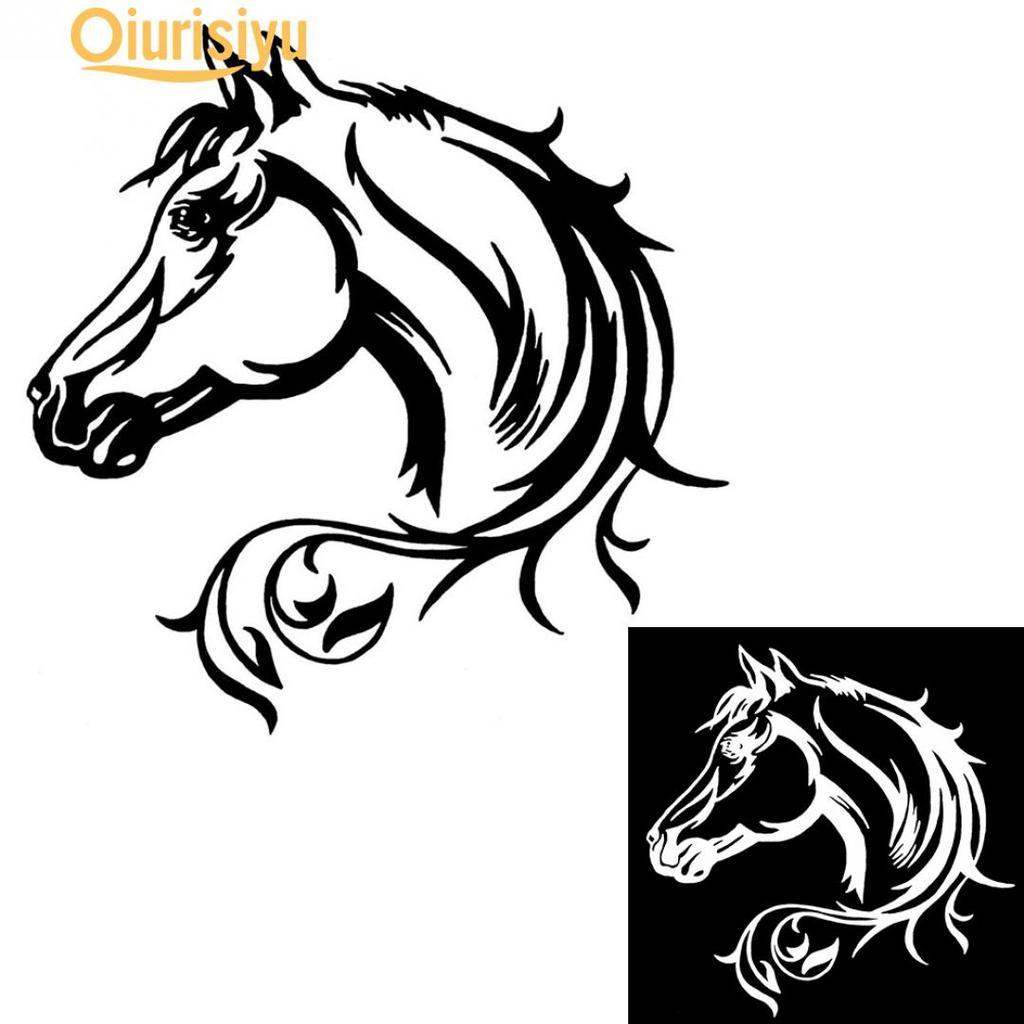 Patterned Horse Head Car Bumper Sticker Decal 5/'/' x 5/'/'
