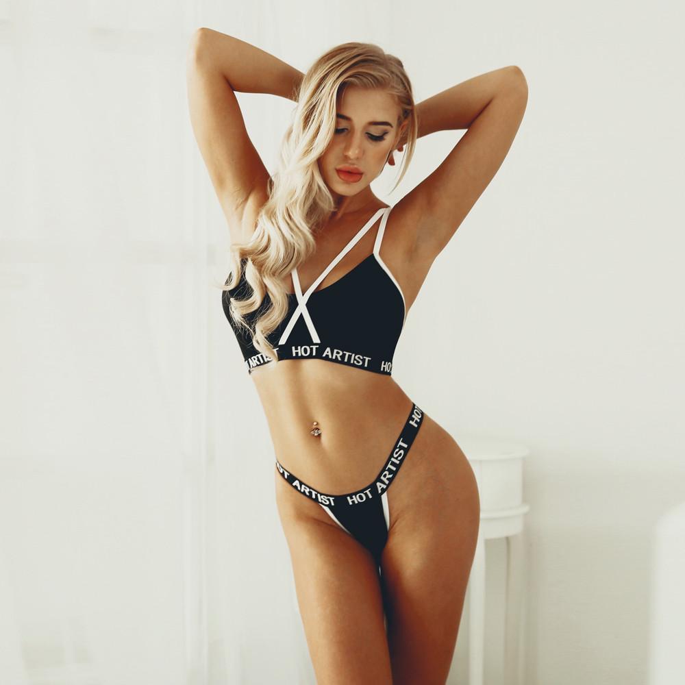 Summer Women Girls Bikini Lingerie Push Up Bra+Pants Set Beach Underwear Muslin