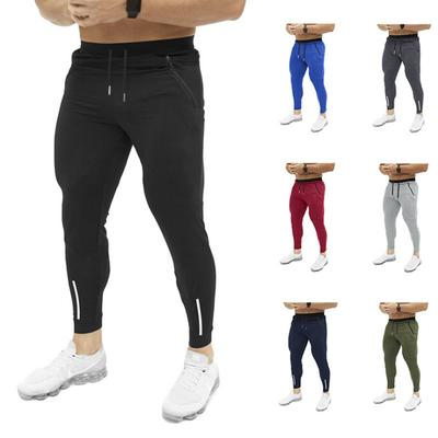 Fashion Mens Sport Trousers Zipper Patchwork Solid Casual Sweatpants Drawstring Pant