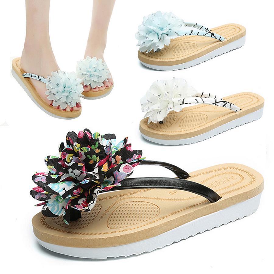 Womens Ladies Wedge Heel Flower Toe Post Flip Flops Holiday Summer Sandals