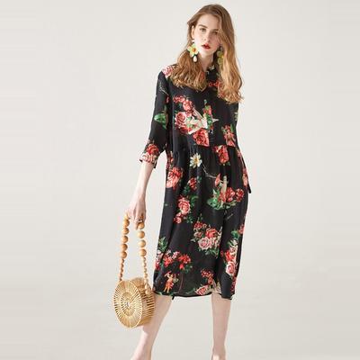 e03fb8fabd Sukienka WTEMPO Silk 2019 letnia sukienka nowa sznurek żeński był cienką  szwalną jedwabną suknią