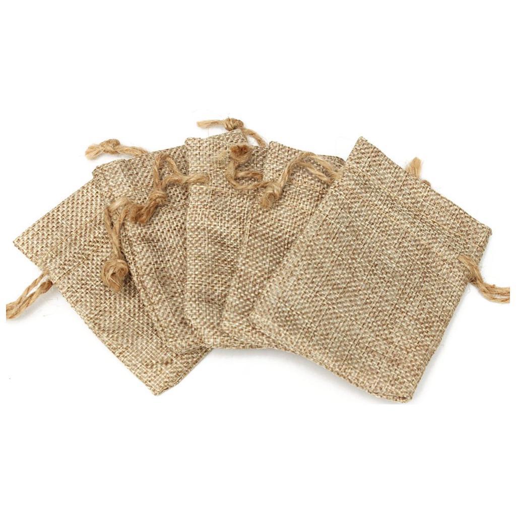 10x Linen Bag Geschenktasche Bonbons Schmuck Candy Perlen Tasche Drawstring