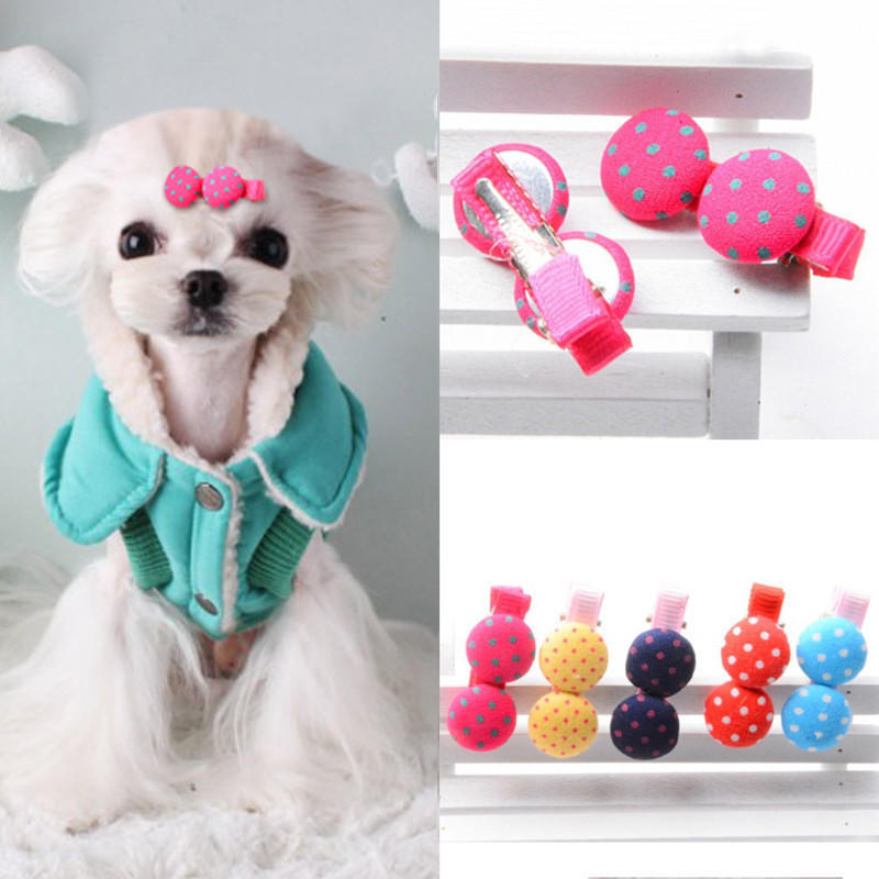 Accesorios para perros 5pcs ropa doble hebillas horquilla para mascotas  tocado punteado adornos para el pelo