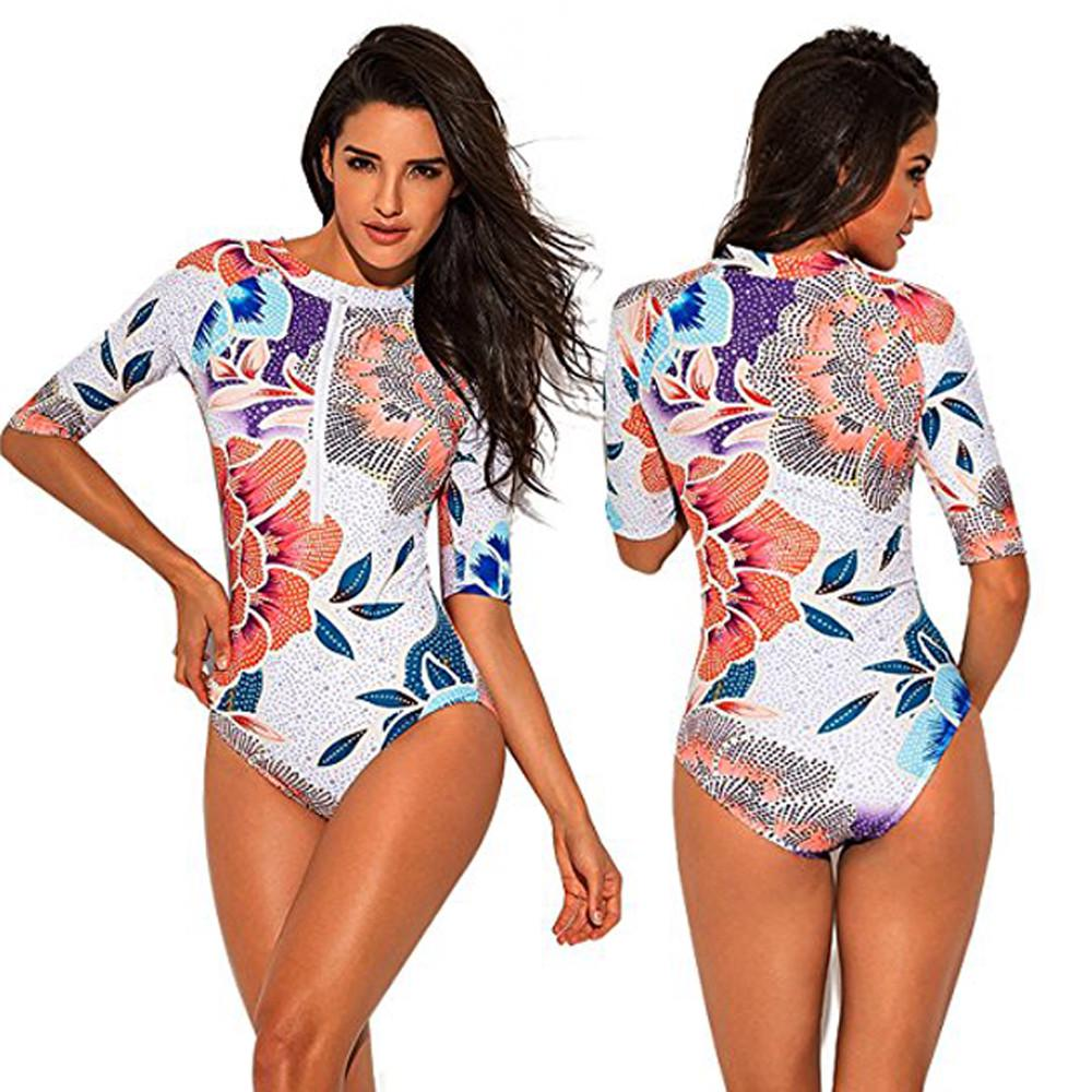 Women/'s Zip Printed Half//Short Sleeve Surfing One Piece Beach Swimsuit Swimwear