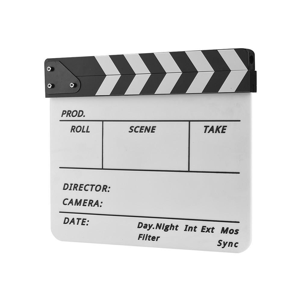 Easy Wipe Cut Action Scene Clap Board Slate for Shoot Props//Advertisement Black//White Acrylic Director Scene Clapboard Directors Film Clapboard TV Movie Action Board Film Cut Prop with Pen