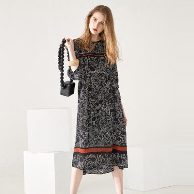 00e7c7d2e8cf36 WTEMPO 2019 women five-point sleeves slim slimming stitching silk print  long silk dress
