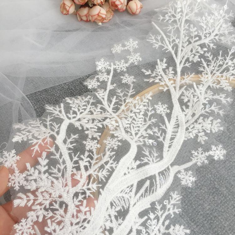Powder + Purple 1 Pair 3D Flower Embroidery Lace Trim Bridal Wedding Applique Beaded Pearl Tulle DIY Sewing Trims Wedding Decoration 1pc