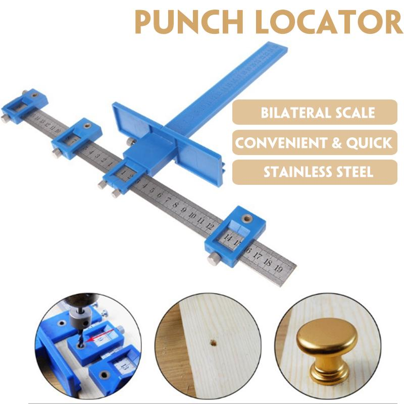 Punch Locator Aluminum Alloy Template Wood Drilling Dowelling Tool Set for Precise Positioning and Drilling of Wooden Products