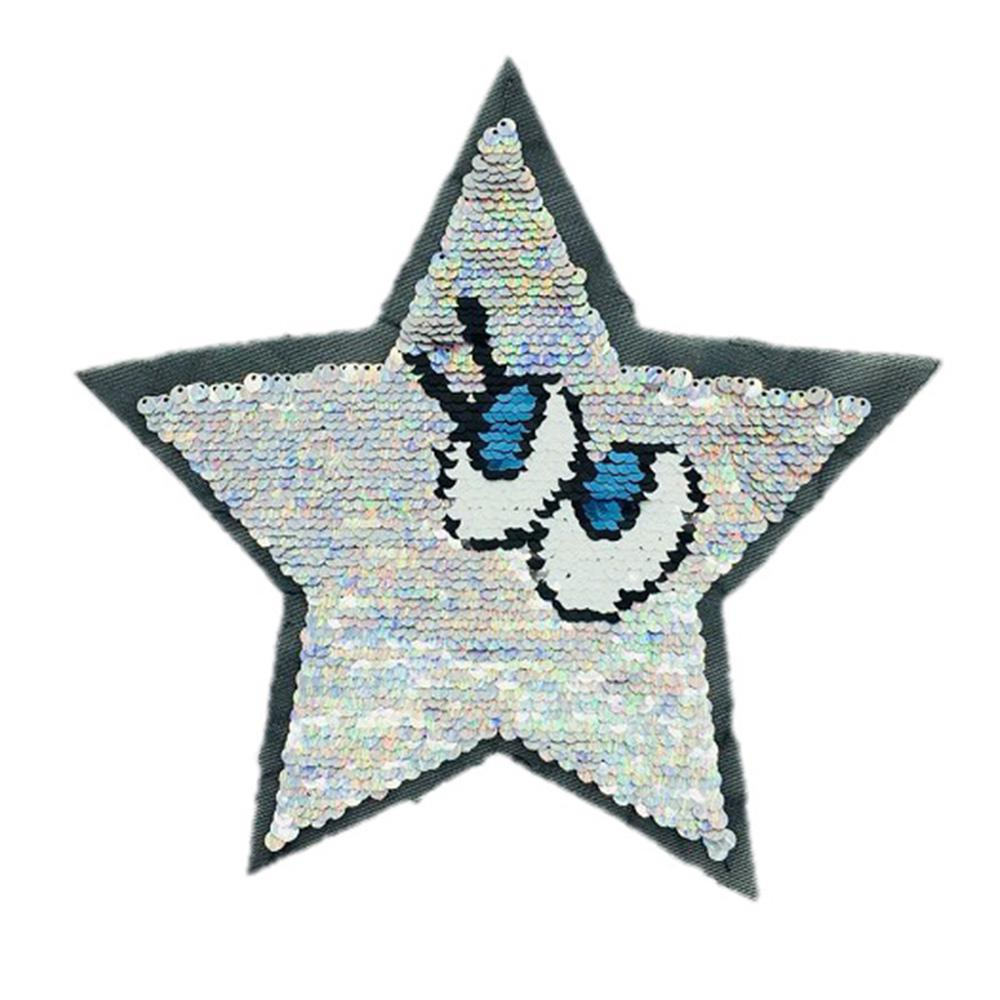 Hot Reversible Change Color Patches With Sequins English Letter Applique Sticker