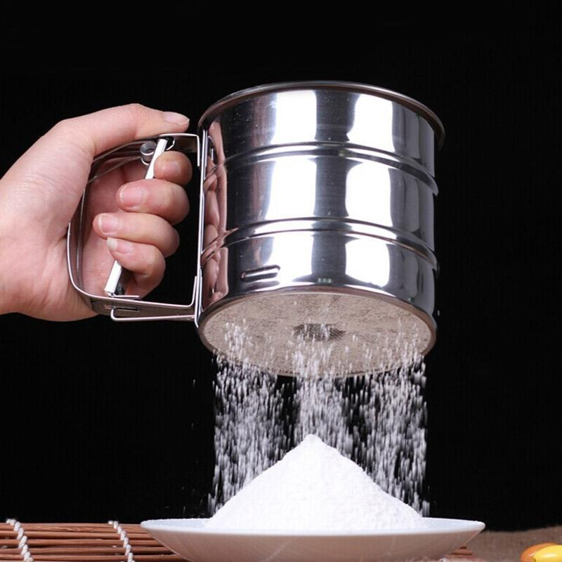 Stainless Steel Mesh Flour Icing Sugar Sifter Sieve Strainer Cup Baking Shaker