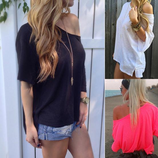 款新品系列性感纯色宽松T恤短袖
