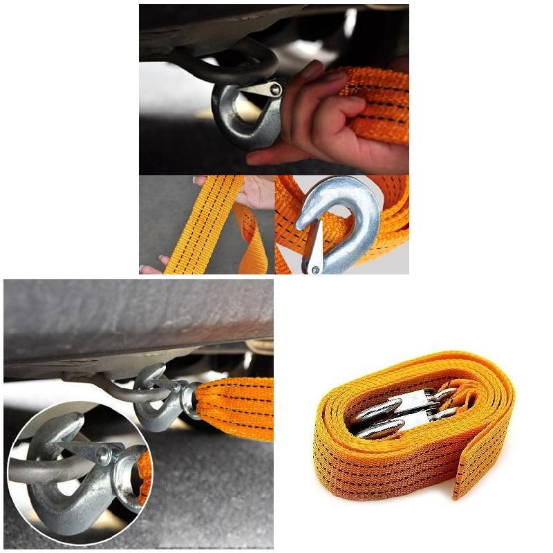 Diamoen Car Vehicle Truck Pulling Heavy Duty Self-Rescue tow rope Car Rope Wire Tow Rope Strong Hook Towing Cable Trailer 4M 5tons