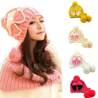 04196d711b8c88 Korean Slouch 2Balls Knit Ski Women Beanie Snow Flower Beret Crochet Cap Hat