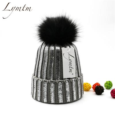 Rainbow Gilding Turban Bonnet Bronzing Cap Knitted Wool Hat Fur Ball Beanie