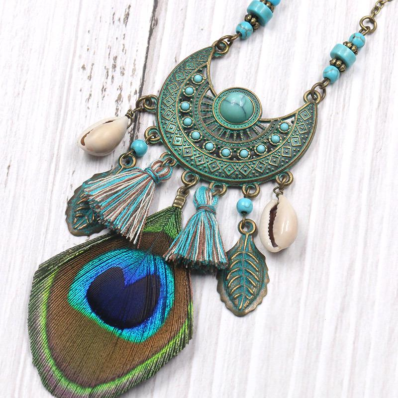 Beach Turquoise Pendant Necklaces Accessories For Women Alloy ON3