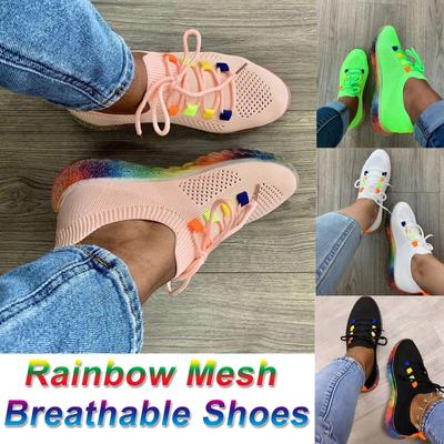 [Coconut Tree] Women's Fashion Casual Mesh Breathable Sport Running Sneakers Lace Up Shoes