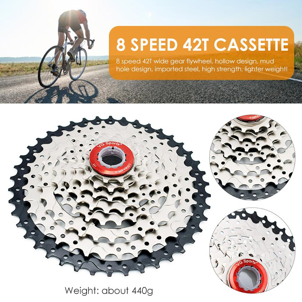 Super Light RATUXTR 8 Speed Cassette for Mountain Bike 11-42T Mountain Bicycle 8 Speed Cassette Flywheel Fit for MTB BMX Road Bicycle
