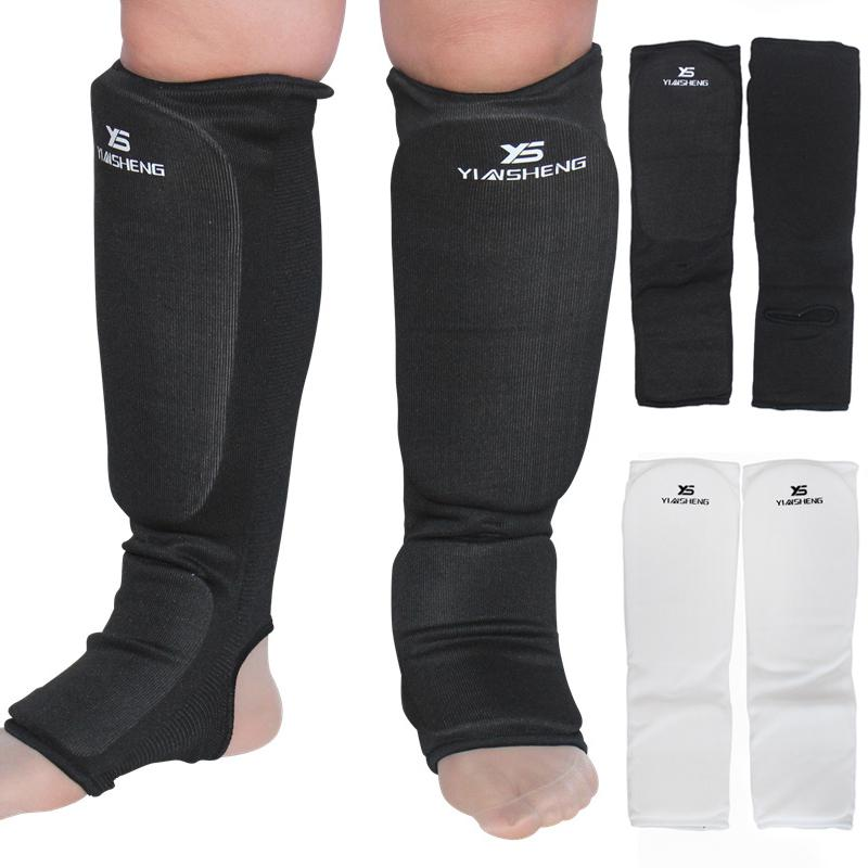 Cloth Shin Instep Guards Taekwondo Karate Foot Sparring Gear Pads Black L