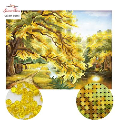 Full Range of Embroidery Starter Cross Stitch Kit Including Embroidery Cloth with Pattern Bamboo Embroidery Hoop Colors Embroidery Floss Threads Set Autumn Scenery Stamped Embroidery Kit