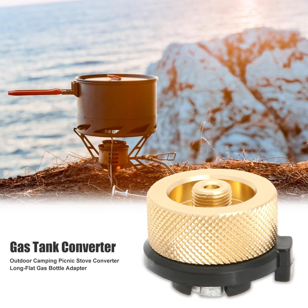 Copper Gas Tank Converter Camping Hiking Connector Adapter Aluminum Alloy