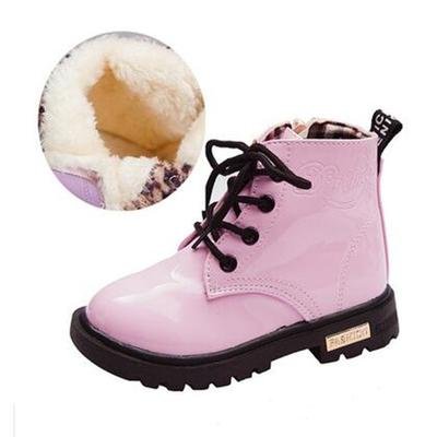 KIDS SHOES Rubber Boot Children Patent Leather Botas Boys Girls Waterproof Plush Snow Boots Toddler Sneakers Ankle Boot