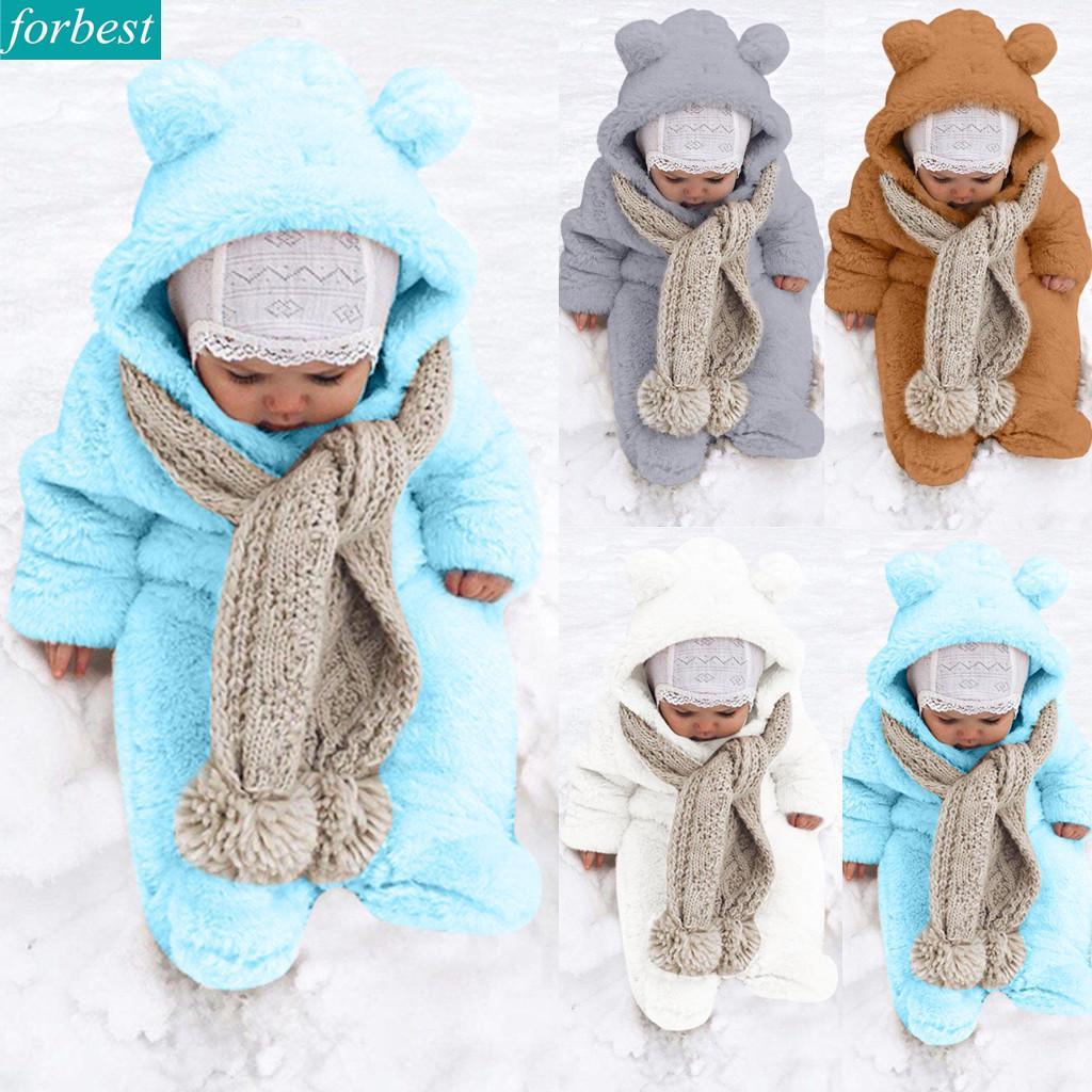 Newborn Baby Boy Winter Fleece Jumpsuit Solid Hooded Romper Warm Coat Outwear