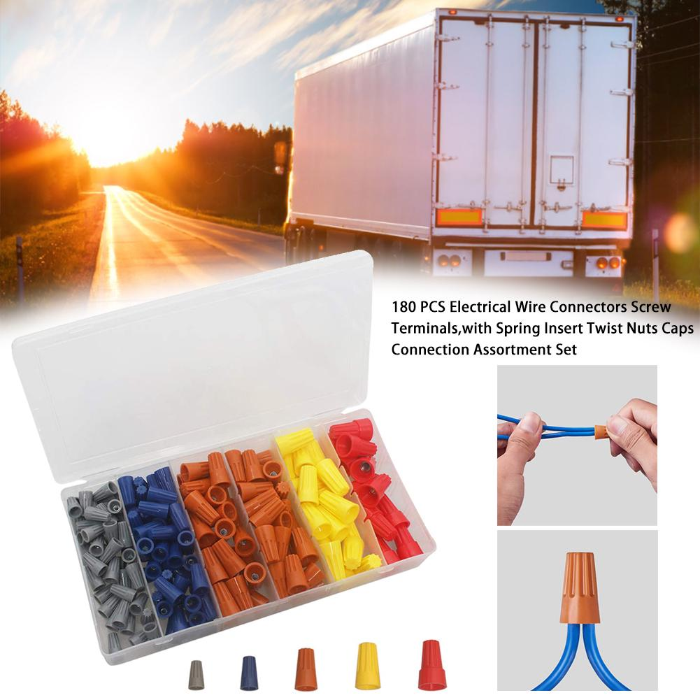 180PCS Electrical Wire Connectors Screw Terminals,with Spring Insert Twist Nuts Caps Connection Assortment Set