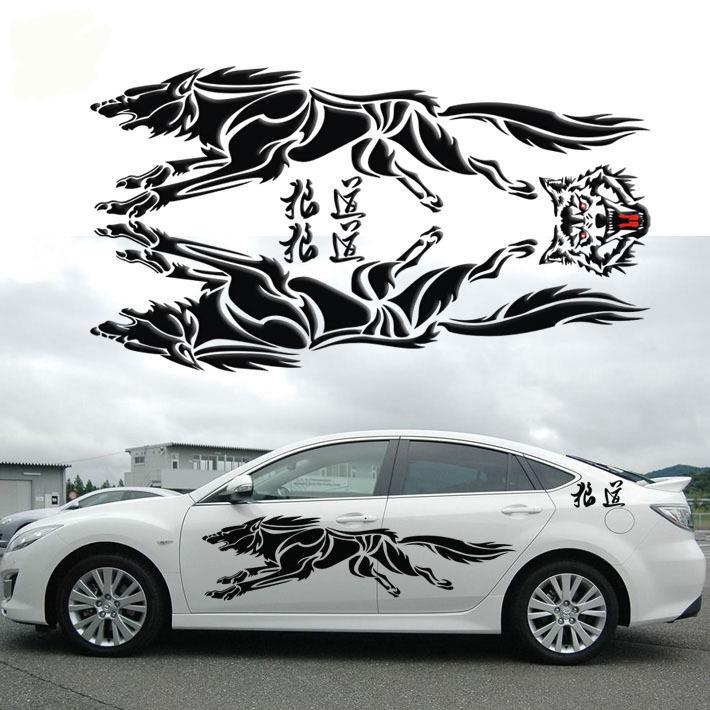 Black Racing Car Stickers Decal Sport Styling Vinyl Car Body Exterior Sticker