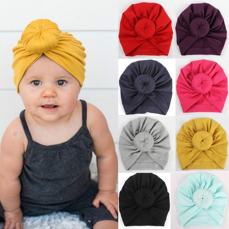 Enfant Garçon Fille Hiver Caps Soft Baby nouées Chapeau Indien Turban en velours