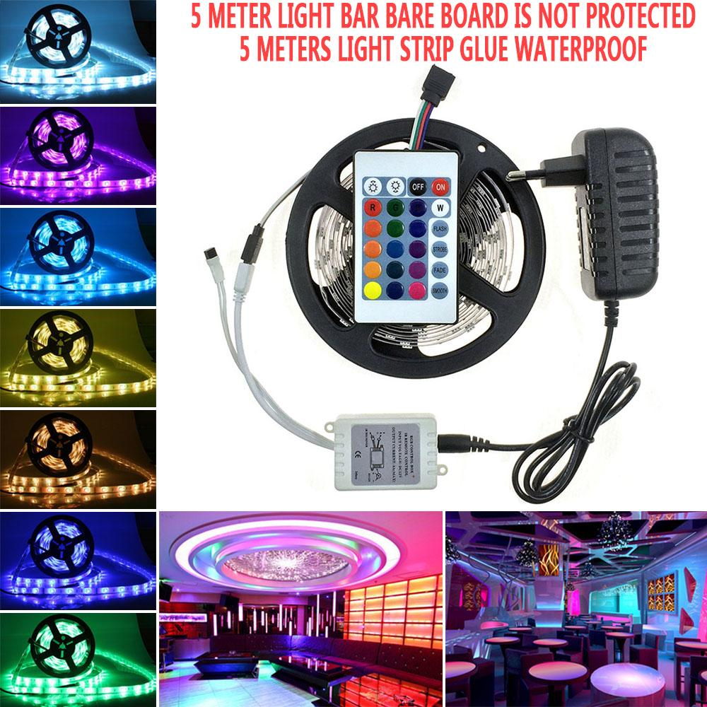 Non-Waterproof 5M 10M 5050 RGB LED Strip 44Key Remote Controller Power Adapter