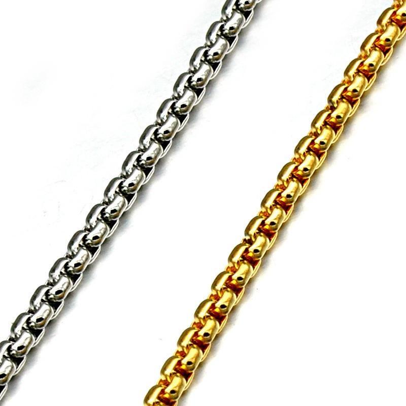 Tressé blé Link 3-6 mm Homme Chaîne Argent//Or//Noir Acier Inoxydable Collier