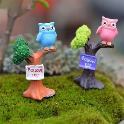 2pcs Miniature Landscape Resin Garden Fairy Ornament Street Signpost