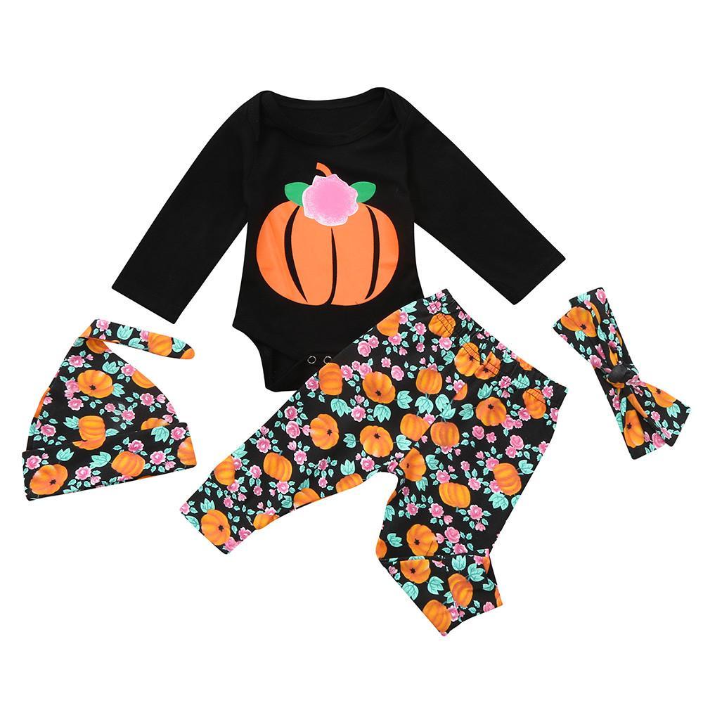 Fashion Baby Girls Halloween Costumes Long Sleeves Pretty Little Pumpkin Romper Pants Cap Headband 4PCS Set