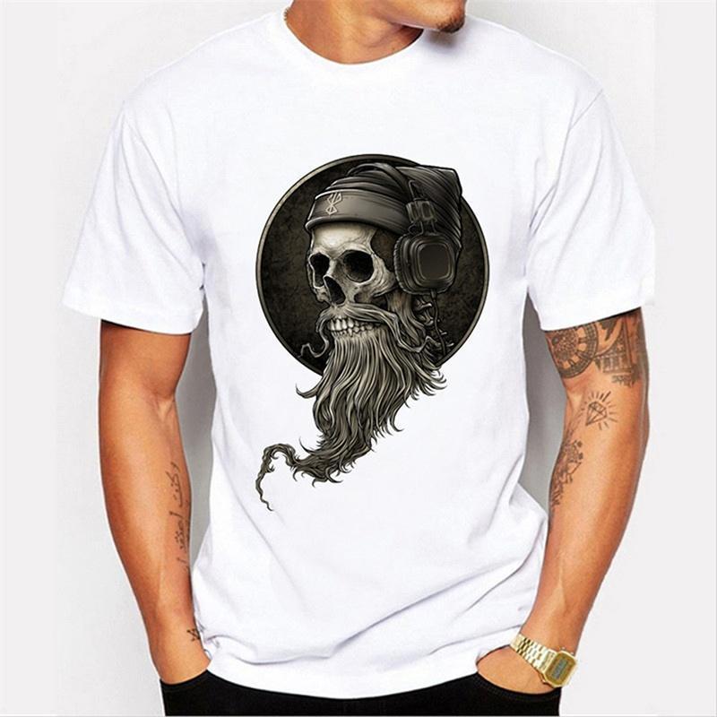 热卖速卖通 时尚男士上衣个性骷髅头印花百搭潮流白色T恤