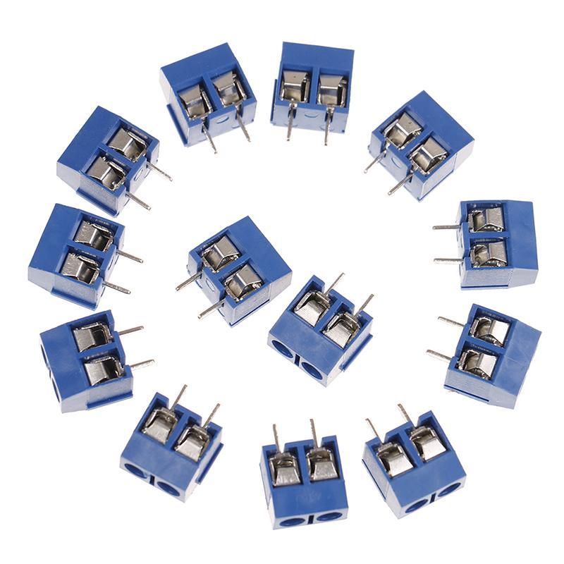 10Pcs blue 2-pin pitch screw terminal block connector 5.08mm panel pcb mountP!E