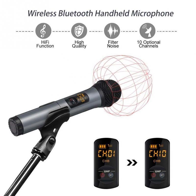 Micr/ófono Inalambrico Karaoke Profesional,Micr/ófono Bluetooth 4.1 con Dual Canales,Dos Micr/ófono de Mano VHF Receptor,Equipo Karaoke Sistema para Bar,Conferencia,KTV