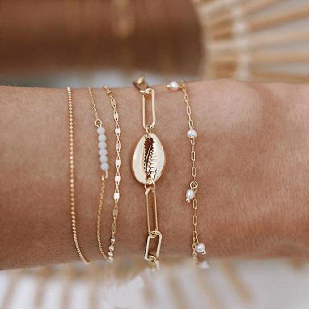 Fashion 5Pcs Women Boho Natural Stone Bead Map Bracelet Bangle Chain Jewelry New