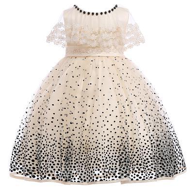 e1781cd51f5e0 Les enfants fille d été Robes enfants fille mariage élégant parti robe  filles noir dot