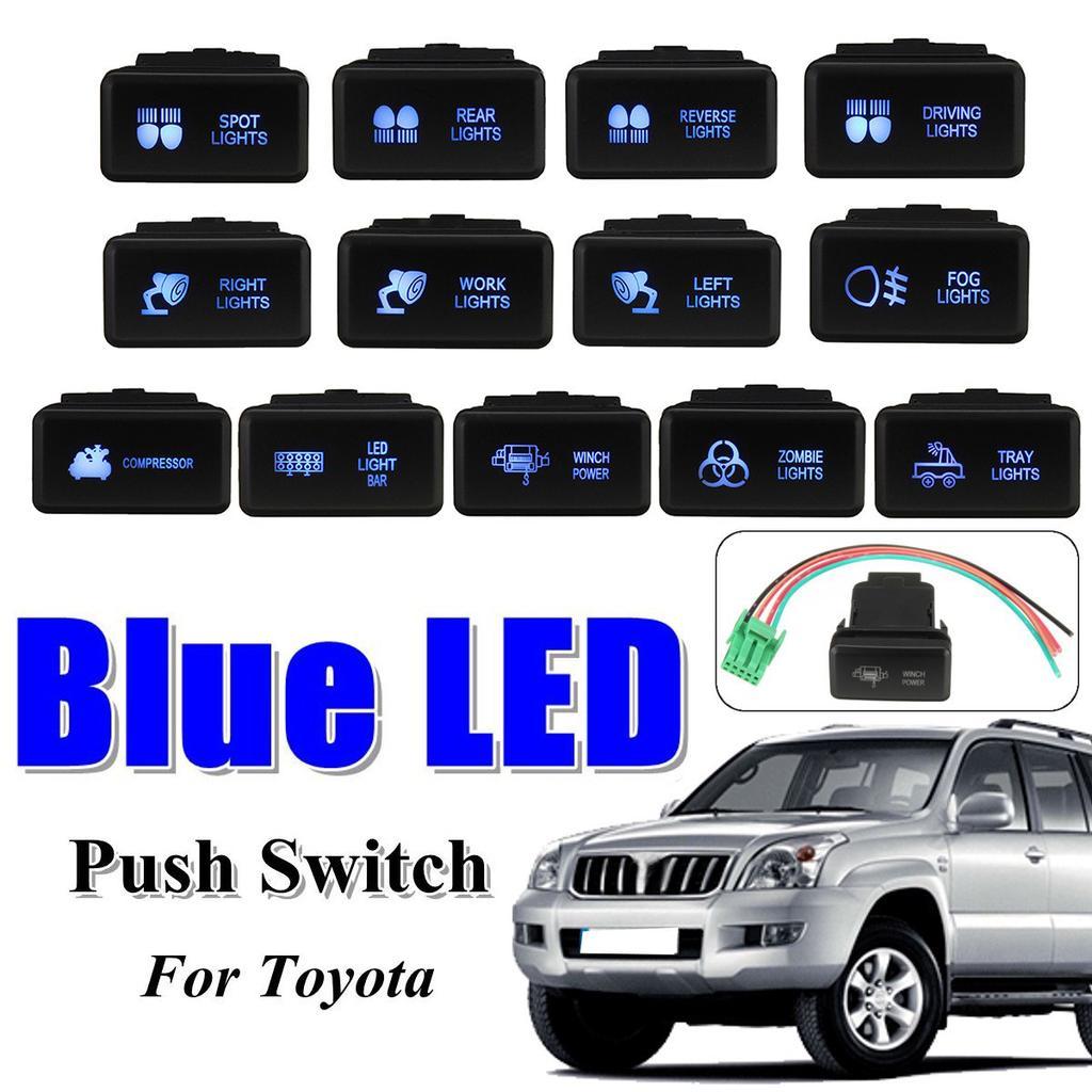 Push Switch Button Blue LED Spot Light For Toyota Landcruiser Prado 120