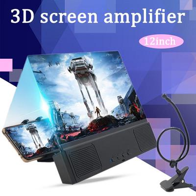 3D Phone Screen Magnifier Stereoscopic Amplifying Desktop Folding Stand Bracket HD Movie Video Stand Compatible with All Smartphone