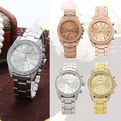 Boom Boom Fashion Stainless Steel Wrist Watch Quartz Shiny Rhinestone Analog Women's