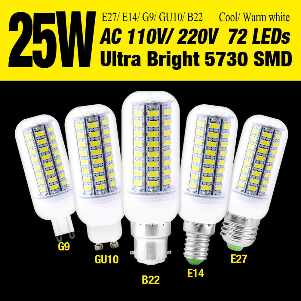 E27//GU10//G9 Ultra High Bright 7W 5730 LED Corn Bulb Lamp Cool//Warm White  Lights