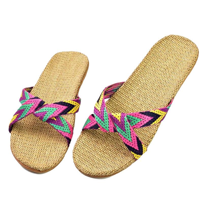 亚麻拖鞋家居拖鞋室内拖鞋木地板一字静音防滑厚底夏季凉拖鞋男女