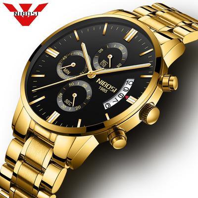 cc4594f153df Ver hombres negros marca WatchesLuxury Sport cronógrafo reloj hombre relojes  acero inoxidable