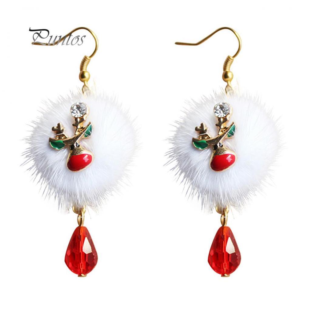 7593a2988 Santa felpa blanco lindo Claus Drop aretes ciervos Navidad de la ...