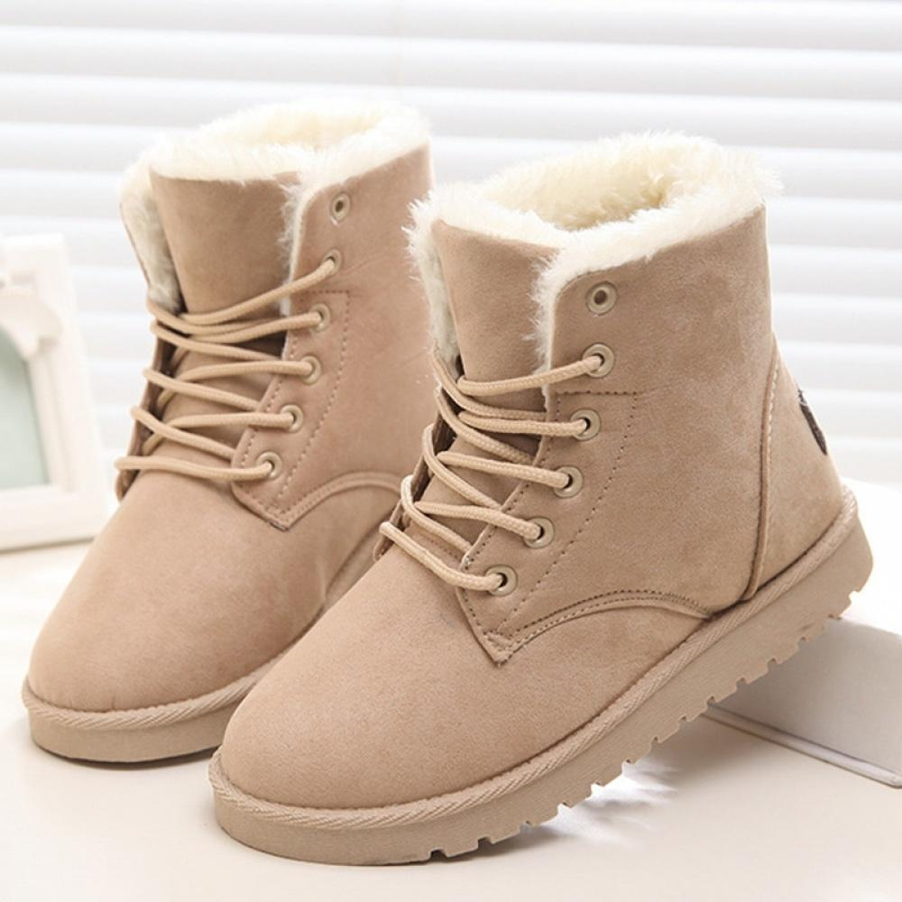 Women/'s Winter Ankle Combat Boots Suede Plush Lace Up Wedge Heels Warm Booties