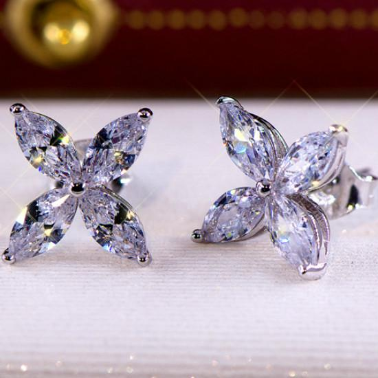 Fashion Zircon Crystal Earrings Luxury Women Glitter Butterfly Ear Stud Jewelry