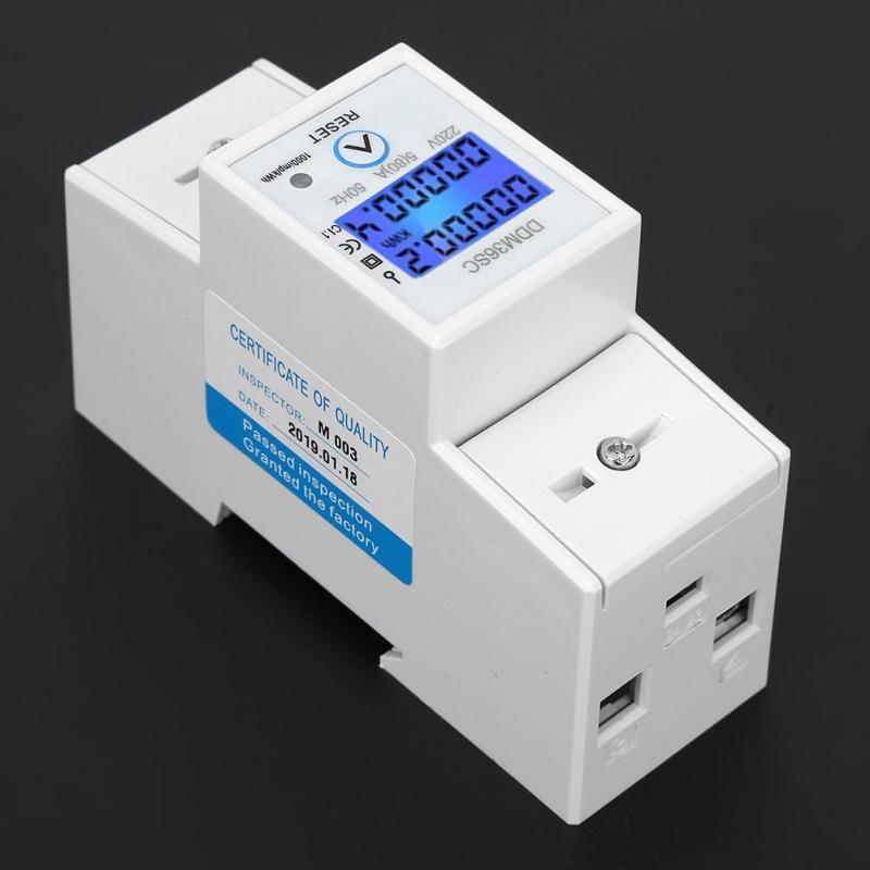Compteur d/énergie monophas/é avec affichage LCD Compteur d/électricit/é 35mm Compteur /électrique num/érique monophas/é /à 2 fils Rail DIN 230V Compteur d/énergie 50Hz 5 A 80