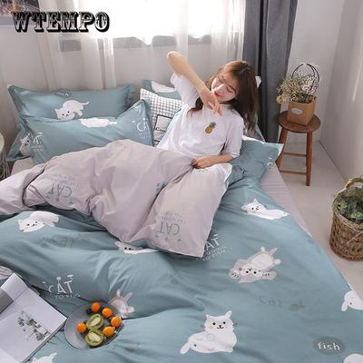 08ed016524 WTEMPO Bedding Set Sheets Polyester Printed With Elastic Band Duvet Cover  Set Queen Size