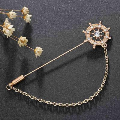 Rudder chain brooch Men Women Arrow Long Chain Tuxedo Lapel Pin Brooch  Boutonniere